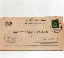 1937  LETTERA CON ANNULLO BITONTO BARI - 1900-44 Vittorio Emanuele III
