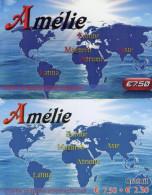 CARTES PREPAYEES AMELIE *7,50e  *7,50e+2,50e  (lot De 2) 9753 - Prepaid Cards: Other