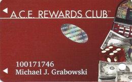 ACE Rewards Casino Slot Card - Web Address Bottom Reverse - (I) Over Mag Stripe With Sticker - Casino Cards
