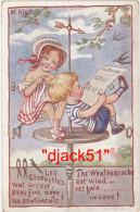 Illustrateur : M. Alys / 2 Enfants, Girouette, Hirondelles - Illustrateurs & Photographes