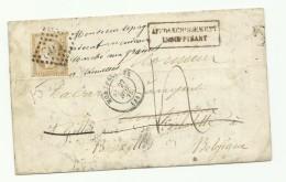 Lettre De Montpellier Réexpédiée En Belgique, Affr. Insuffisant, Taxée Et  Envoyée Aux Rebuts - 1849-1876: Periodo Classico