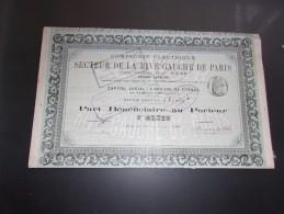 Compagnie Electrique Du SECTEUR DE LA RIVE GAUCHE DE PARIS (1893) - Actions & Titres