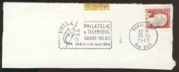 Flamme Secap 1343f Philatec 1964 - Paris XVI Du 25-10-1963 Sur Fragment - Marcophilie (Lettres)