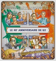 NIGER 2016 ** U2 Irish Rock Band Nelson Mandela M/S - OFFICIAL ISSUE - A1619 - Famous People