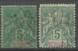 REUNION  YVERT N° 35 X 2 NUANCES  OBL / 2ème CHOIX - Réunion (1852-1975)
