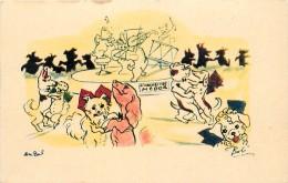 AU BAL (les Chiens De Paris)- Carte Humoristique Illustrée Par Bob. - Honden