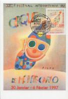 Carte Maximum  1er Jour  MONACO   FESTIVAL  INTERNATIONAL  Du  CIRQUE  Oeuvre  De  FOLON   1997 - Circus