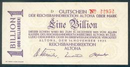 Deutschland, Germany, Reichsbahndirektion Altona - 1 Billion Mark, 1923 ! - [ 3] 1918-1933 : Weimar Republic