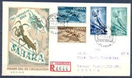 SAHARA , ED. 242 / 245 , SOBRE DE PRIMER DIA DE CIRCULACIÓN , PRO INFANCIA 1965 , CIRCULADO A ORENSE , LLEGADA - Sahara Español