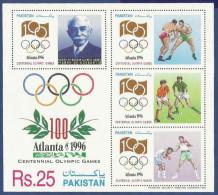 PAKISTAN 1996 MNH MS SHEET OLYMPIC GAMES ATLANTA FATHER OF MODERN OLYMPICS SPORTS - Pakistan