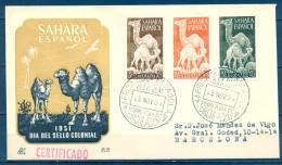 SAHARA , ED. 91/ 93 , SOBRE DE PRIMER DIA DE CIRCULACIÓN , CIRCULADO A BARCELONA - Sahara Español