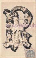 R - Lettre Alphabet - Portrait Femme Artiste  Dans La Lettre - 1905 - 2 Scans - Otros Ilustradores
