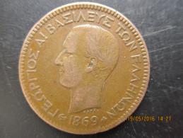 Grèce, 10 Lepta Georges Ier 1869 BB, TTB - Grèce