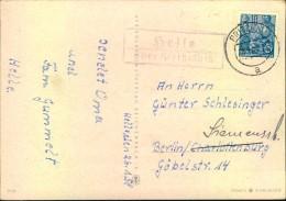 """Brandenburg : 1956, Postkarte Posthilfsstelle """"Helle über Pritzwalk"""" - DDR"""