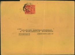 1914, Privates Streifband Nach Norwegen - Stamped Stationery