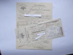 AUBAIS (30): Facture + Son Mandat 1889 VINS & SPIRITUEUX Huile D´olives - LOMBARD & TOURREAU - France