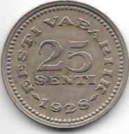 *Estonia  25 Senti 1928 Km9    Vf+ - Estonie