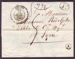 """RHONE - LAC - Tàd T13 THIZY + Taxe 5 (2ème éch) + BR """"A"""" (Cublize, Identifiée) Pour Lyon (68) - Marcophilie (Lettres)"""