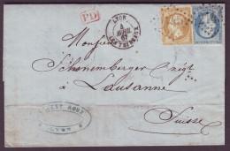 RHONE - LAC - Tàd T15 Lyon Les Terreaux + GC 2145 Sur N° 21 + N° 22 -> Lausanne (Suisse) - Postmark Collection (Covers)