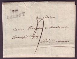 SAONE & LOIRE - LAC - 70 CHAGNY (27x9) (1793) + Taxe 4 Pour Tournus (70) - Postmark Collection (Covers)