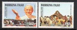 1990 Burkina Faso Visit Pope John Paul II Catholic Religion  Complete Set Of 2 MNH - Burkina Faso (1984-...)