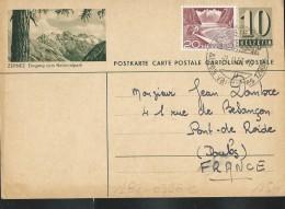 Carte Illustré (Zumstein 2009) N° 182- 0396C ZERNEZ Eingang Zum Nationalpark  Obl: 07/02/1957 Pour La France - Entiers Postaux