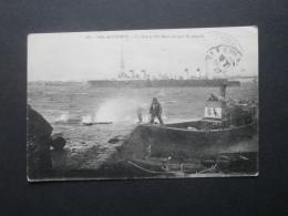 Rade De Lorient La Cale De Pen Mané Un Jour De Temps, Bateau De Guerre -  Circulée 1919 L257 - Lorient