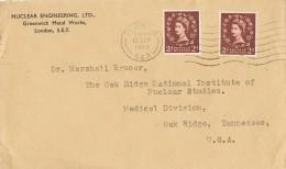 18027. Carta CHARLTON (England) 1957 O USA - 1952-.... (Elizabeth II)