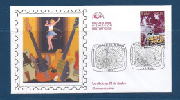 Env Fdc 17/3/2001 Paris, N°3375 Y Et T, Le Siècle Au Fil Du Timbre, Communication, Salut Les Copains, Guitares, Cerceau - FDC