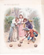 An - Chromo Illustré Maurice Leloir - Le Jeu De Boules, Costumes Louis XIII -  Au Bon Marché (format 18 X 22 Cm) (fessée - Au Bon Marché