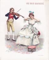 An - Chromo Illustré Jules Girardet - Le Violon - Au Bon Marché (format 18 X 22 Cm) (musique) - Au Bon Marché