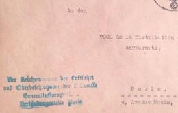 Cachet LUFTWAFFE GENRALLUFTZEUGMEISTER PARIS Aviation Allemande Sur Env Feldpost > Service Carburants Paris Dec 1941 - Guerre De 1939-45