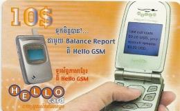 Cambodia - Hello - Mobile Phone - Remote. Mem 10$, Exp. 08.01.2008, Used - Cambodia