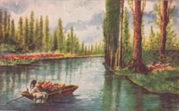 Mexico Xochimilco Canal Scene 1939