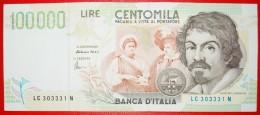 § CARAVAGGIO: ITALY ★ 100000 LIRE 1994 (1995) CRISP!!! LOW START★ NO RESERVE! - [ 2] 1946-… : Républic