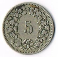 Switzerland 1888 5c - Switzerland