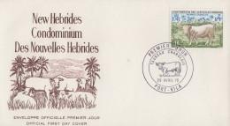 Enveloppe FDC  1er Jour   NOUVELLES  HEBRIDES   Boeuf   Charolais   1975 - FDC