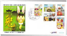 Antilles / Curacao 2011 FDC 4 CNY Year Of The Rabbit Zodiac - Curacao, Netherlands Antilles, Aruba