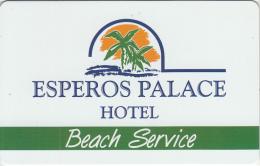 GREECE - Esperos Palace, Beach Service Card, Used - Hotel Keycards