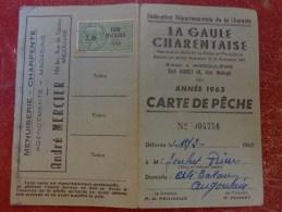 Carte De Peche 1963 Timbre Taxe Piscicole -pub Menuiserie Andre Mercier A Angouleme - Fishing