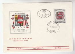 1966 Linz AUSTRIA FDC HOCHSCHULE LINZ  Heraldic Stamps  Cover - Covers