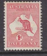 Australia : Kangaroo, 1913, 1d Red, Die 1, MH *,  Toned - Mint Stamps
