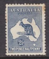 Australia : Kangaroo, 1913, 2 1/2d Deep Blue, MH *,  Tone Spots, - 1913-48 Kangaroos
