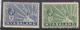 Nyasaland: 1934 George V, Leopard Definitive, 3d C.d.s Used + 1/d Unused - Nyasaland (1907-1953)