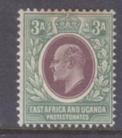 East Africa & Uganda Protectorates, Edward VII 1903, 3 Annas Purple &  Green MH *, Gum Tone, - Kenya, Uganda & Tanganyika