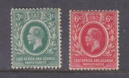 East Africa & Uganda Protectorates, George V, 1912, 3c Green, 6c Red , MH *, Gum Tone, - Protectorados De África Oriental Y Uganda