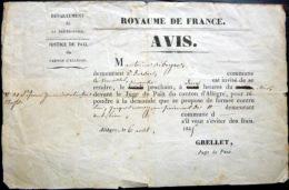 43 ALLEGRE  AVIS CONVOCATION DEVANT LE JUGE DE PAIX  POUR PLAINTE DOCUMENT OFFICIEL 1845 - Documents Historiques