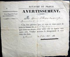 43 ? ROYAUME DE FRANCE  AVERTISSEMENT  PAIEMENT DE DETTE HUISSIER  ROYAL - Documents Historiques
