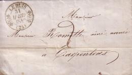 DROME - LE BUIS - T11 DU 31 MARS 1840 - TAXE 2 MANUSCRITE POUR CARPENTRAS VAUCLUSE - AVEC TEXTE ET SIGNATURE - INDICE 10 - Marcophilie (Lettres)