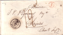 DROME - ETOILE - T15 DU 31-12-1843 - BOITE RURALE J - DECIME ROUGE - TAXE 12 MANUSCRITE POUR SAINTES CHARENTE - SANS TEX - Marcophilie (Lettres)